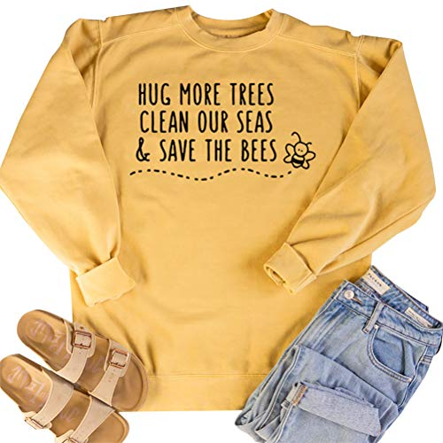 Enfei Save The Bees Women's Letter Print Sweatshirt Long Sleeve Loose Pullover Shirt Yellow