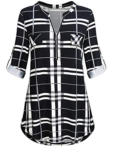 Ladies Blouses Plus Size, Womens Zip Up Banded Collar Cuffed Long Sleeve V Neck Tunic Shirts Button Down Pleated Flowy Hipster Dressy Plaid Tops Oversized Black White XXL