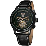 Qiyan Men's Automatic Tourbillon Military Wrist Watch Leather Band Black