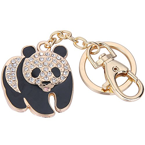 EVER FAITH Women's Austrian Crystal Adorable Plump Panda Animal Keychain Clear Gold-Tone