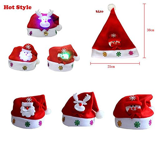 Pausseo LED Christmas Hat Santa Claus Reindeer Snowman Xmas Gifts Christmas Kids Women Men Snowflake Santa Claus Holiday Cap Comfortable Boys Girls Gifts Hat Print Festival Chapeau Headgear (C-Kid)