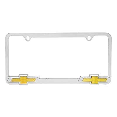 Bully WL011-C Chrome Chevy Chevrolet License Plate Frame Holder Front or Back Bumper Shows Car Tags - Exterior Accessories for Trucks, Cars and SUVs - 1 Piece Genuine Licensed Product: Automotive [5Bkhe1404020]