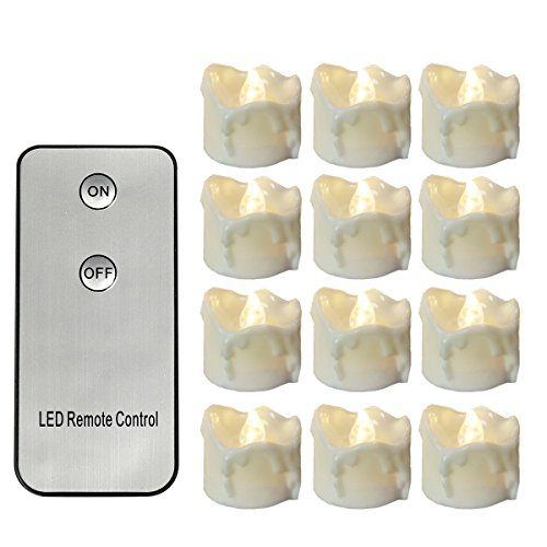 Youngerbaby Flickering LED Tea Light Candles with Remote Control, Small 12 PCS Flameless Wax Dripped Flameless Candles Battery Powered 1.4 Inch Tiny Electric Tealights for Wedding Centerpiece -