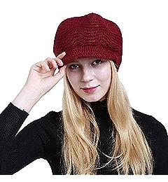 e967e2411a0b3 TWGONE Womens Knit Cap Solid Warm Crochet Winter Wool Knit Manual Caps Hat(One  Size