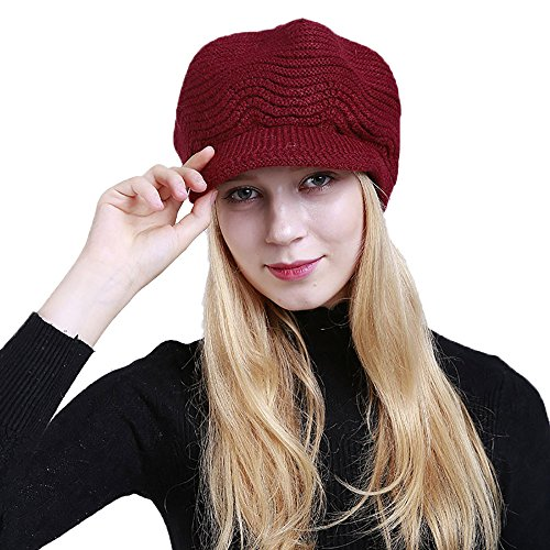 ap Solid Warm Crochet Winter Wool Knit Manual Caps Hat(One Size,Wine Red) ()