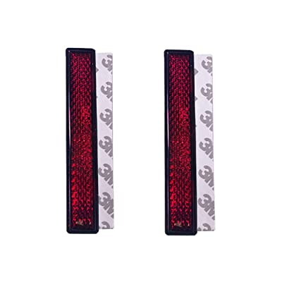 BAR Autotech 3M Stick-on Rectangular Reflectors - Safety Spoke Reflective Quick Mount Custom Accessories 3M Adhesive Reflector for Cars, Trailer, Motorcycle, Trucks, Boat, Bike(Red, 2 PCS): Automotive