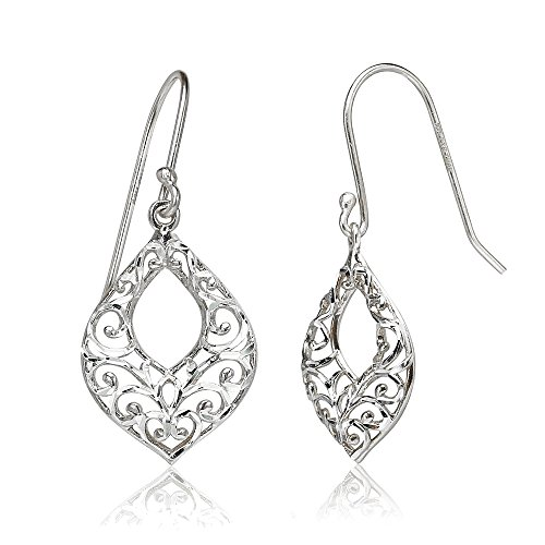 Sterling Silver Diamond-cut Filigree Open Teardrop Dangle Earrings - Open Filigree