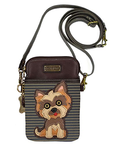 Chala Group Yorkshire Terrier Cellphone Crossbody Handbag - Convertible Strap Yorkie Mom, Brown Stripes, 5