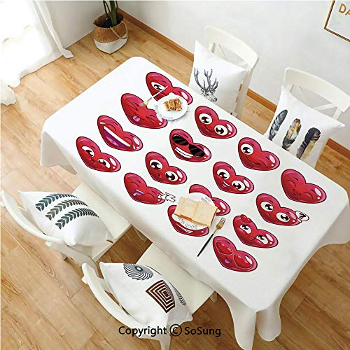 Emoji Rectangle Polyester Tablecloth,Abstract Cartoon Funny Facial Expressions Emotions Love Sadness Happiness Anger Decorative,Dining Room Kitchen Rectangle Table Cover,60W X 84L inches,Dark Coral Pl ()