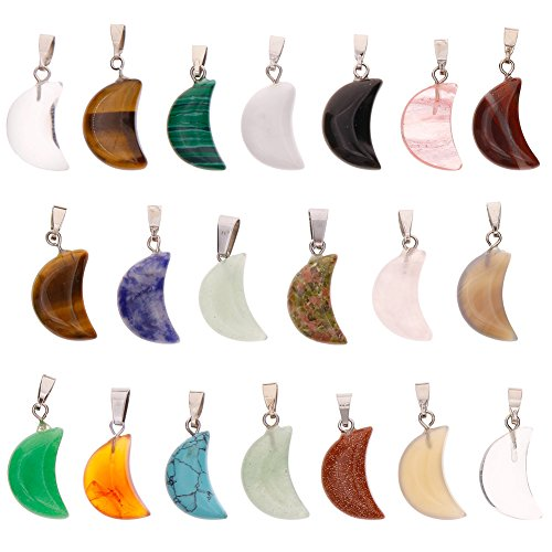f4c6a2798 Keyzone Wholesale 20 Pieces Crescent Moon Shaped Charms Crystal Chakra  Healing Point Reiki Charms for DIY
