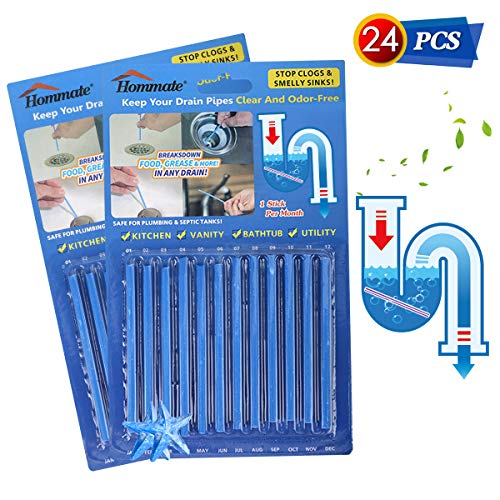 Drain Sticks Drain Stix Drainstix Sink Sticks Drain Cleaner & Deodorizer Drain Deodorizer Sticks Unscented Non-Toxic for Kitchen Bathroom Sinks Pipes Septic Tank Safe As Seen On TV(24pcs, Blue)