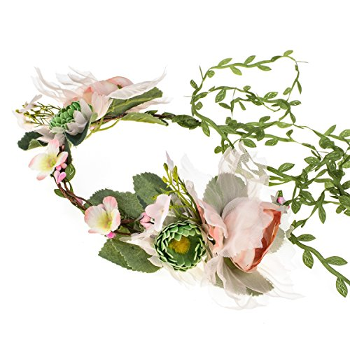 Floral Fall Adjustable Bridal Flower Garland Headband Flower Crown Hair Wreath Halo F-83 (A-Crown with Tail)