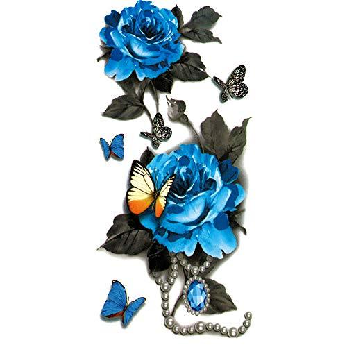 - Flower Temporary Tattoos Stickers Blossoms Flash Body Art Temporary Tattoos for Women Han Shi (Blue)