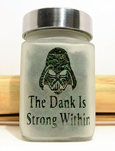 Star Wars Inspired Darth Vader Etched Glass Stash Jar - The Dank Is Strong Within (Marijuana Plastic Jars compare prices)