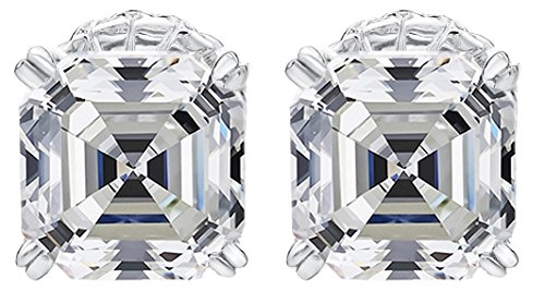 NANA Asscher Cut Swarovski Zirconia Stud Earrings Sterling Silver & Stainless Steel Post 7mm (White) (Stud Asscher Earrings)