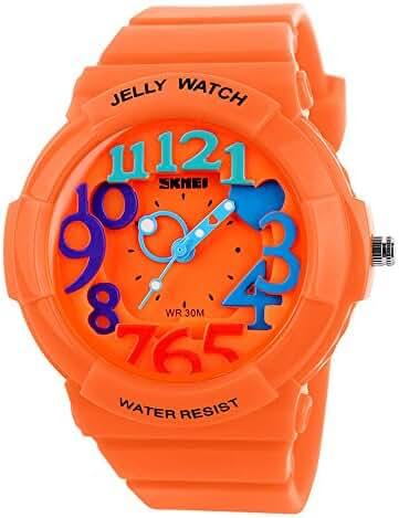 Children's Students Fashion Waterproof Jelly Quartz Sports Watches Orange