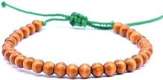 KYDE&V Buddha Prayer Beads Bracelet 16Cm Corda Regolabile Perline in Legno Naturale Bracciali per Donna Uomo Gioielli Coppia