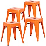 Poly and Bark Trattoria 18'' Stool in Orange (Set of 4)