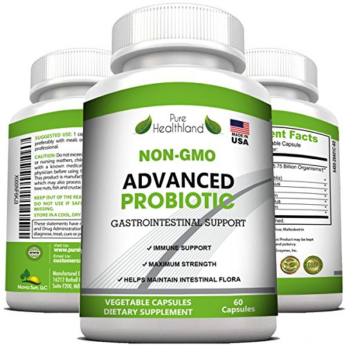 Non-GMO Advanced PROBIOTICS Supplement for Men and Women - Immune and Digestive Systems Support, Balances Intestinal Flora, May Help to Relieve Upset Stomach, IBS, Gas, Bloating