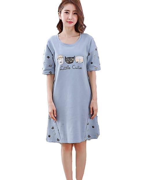 Pijamas Mujer Verano/Autumn Algodon Manga Corta Vestido De Dormir Talla Grande Pijama Mujers (M-3XL): Amazon.es: Ropa y accesorios