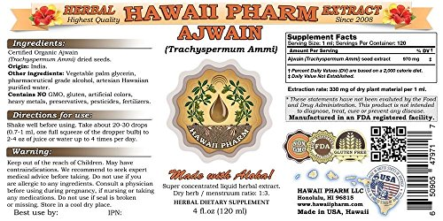 Ajwain Liquid Extract, Organic Ajwain (Trachyspermum Ammi) Seeds Tincture Supplement 2x32 oz Unfiltered by HawaiiPharm (Image #1)