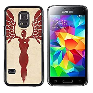 LECELL--Funda protectora / Cubierta / Piel For Samsung Galaxy S5 Mini, SM-G800, NOT S5 REGULAR! -- Heart Woman Angel Blood Red Wings --