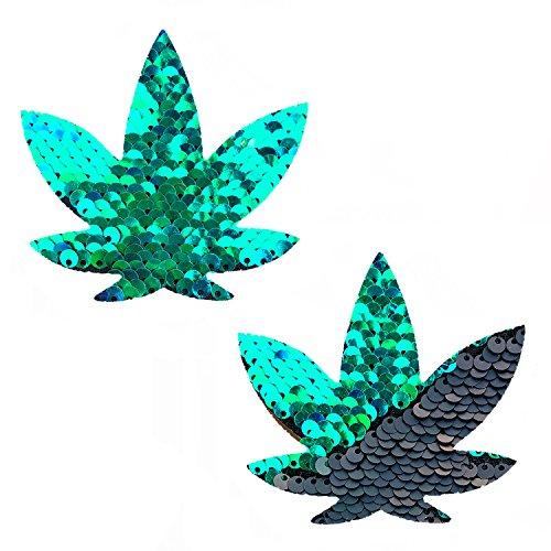 Neva Nude Ariel Green Black Sequin Weed Leaf Nipztix Pasties Nipple Covers -