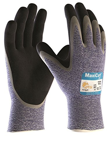 ATG MaxiCut Oil Grip 34-504 Mens Work Gloves Nitrile Palm Coated Cut 5 Resistant