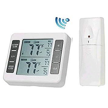 hangang Frigorífico Termómetro Digital Inalámbrico Congelador termómetro con sensores inalámbrico con señal sonora de temperatura al