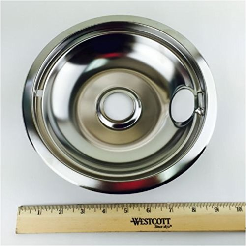 W10196405 Genuine OEM Whirlpool Range Large 8 Inch Chrome Steel Drip Bowl Pan (Whirlpool Drip Pan 8 Inch compare prices)