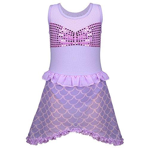 [TFJH Lovely Kids Baby Girls Mermaid Fish Scale Sequin Cosplay Ballet Tutu Purple 5-6 Years] (Mermaid Fairy Costumes)