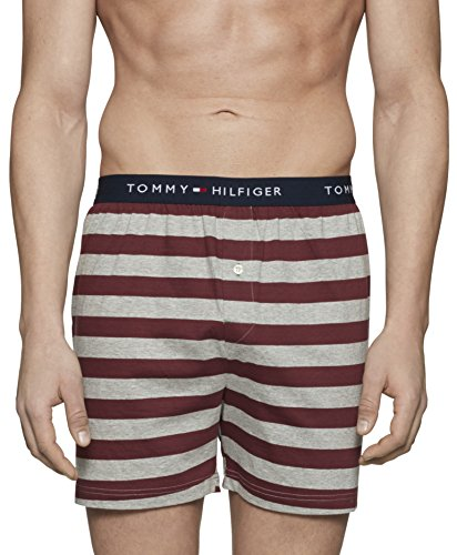 Tommy Hilfiger Men's Underwear Knit Boxers, Claret/Stripes, (Patterned Stripe Boxer)