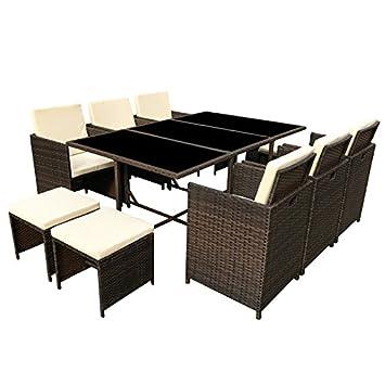 Amazon.de: Poly Rattan Essgruppe Rattan Set mit Glastisch Garnitur ...
