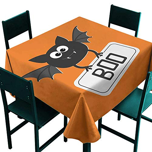 Hinxinv Table Cover for Kitchen Halloween,Cute Funny Bat with Plate Boo Fangs Scare Frighten Seasonal Cartoon Print,Orange Black White,W36 x L36 Square Tablecloth