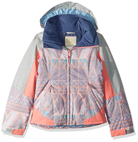 - Roxy Little Sassy Girl Snow Jacket, Minimal Grey_Mosaic, 8/S