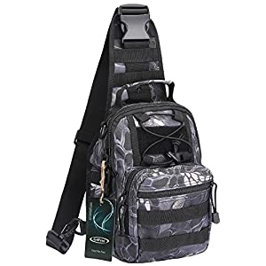 G4Free Outdoor Tactical Backpack,Military Sport Pack Shoulder Backpack for Camping, Hiking, Trekking,Rover Sling Pack Chest Pack(Pythons Grain Black)