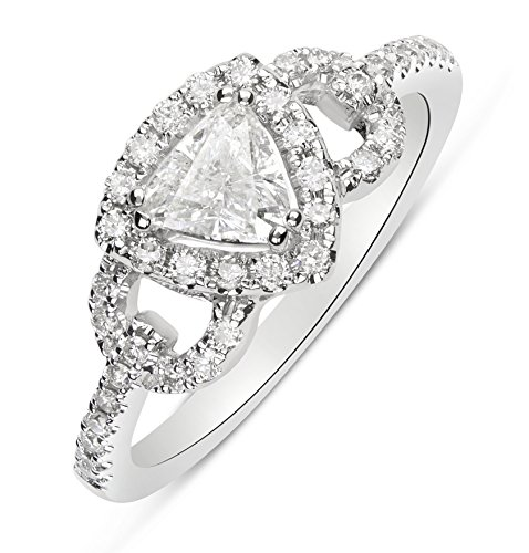 Contemporary Trillion Ring (Trillion Cut Diamond Halo Engagement Ring - 14K White Gold)