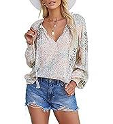 Anloli Women Tops and Blouses V Neck Long Sleeve Shirts Elegant Blouses