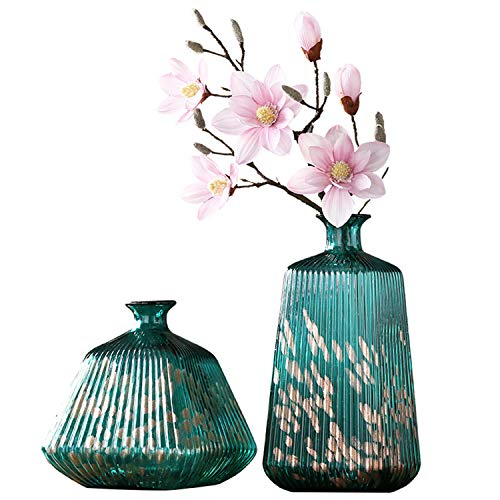SUWIN Classical Creative Green Printed Vertical Striped Glass Vase, Two-Piece Set, Artificially Blown Hydroponic Flower Vase, Home Decoration, Wedding ()