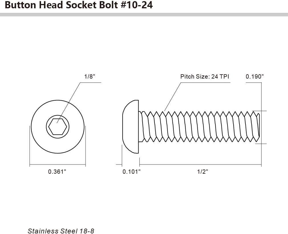 50 PCS Allen Hex Drive 10-24 x 1//2 Button Head Socket Cap Bolts Screws Stainless Steel 18-8
