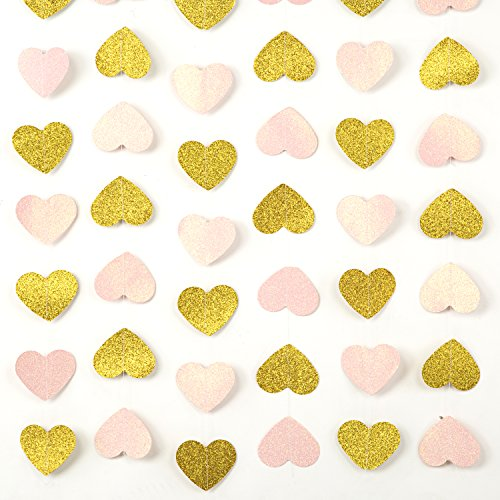 MOWO Heart Paper Garland Pink and Gold Glitter Circle Decoration 2pc 20 feet in Total - Paper Heart Garland