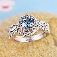 suwanpoomshop Women Charm 925 Silver Round Cut Aquamarine Bridal Ring Set Wedding Jewelry (8)