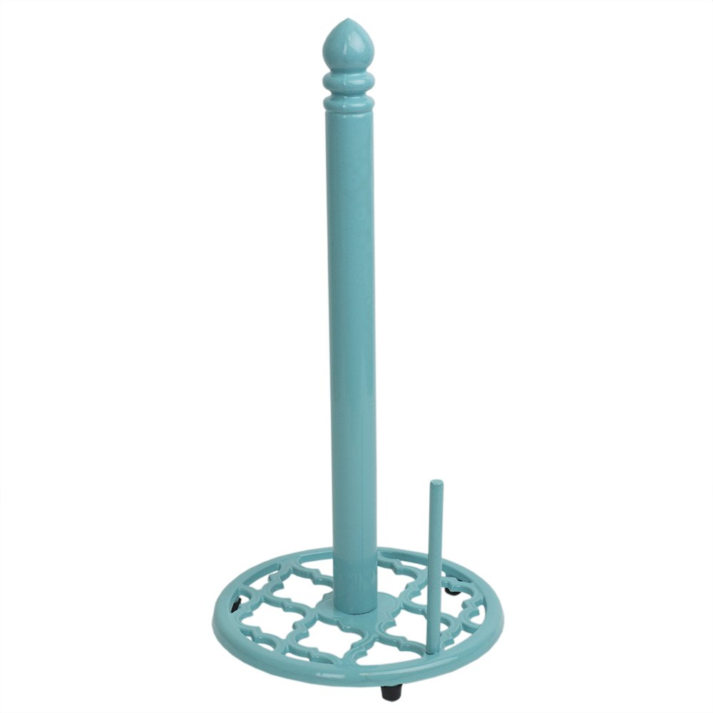 Home Basics Lattice Collection Cast Iron Paper Towel Holder (Turquoise)