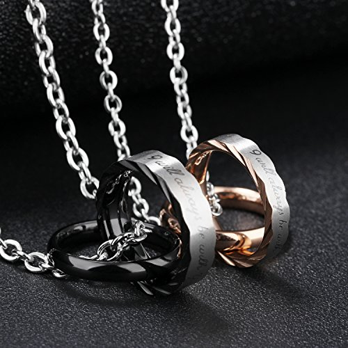 Fate Love ''I will always be with you''Romantic Love Forever Pendant Necklaces Couple Matching Set for Lover by Fate Love (Image #3)