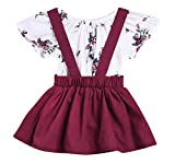 Imsmart Baby Girl 2pcs Outfits Floral Short Sleeve Ruffled T-Shirt Top+Suspender Braces Skirt Overalls (Floral+Red, 110(12-18M))