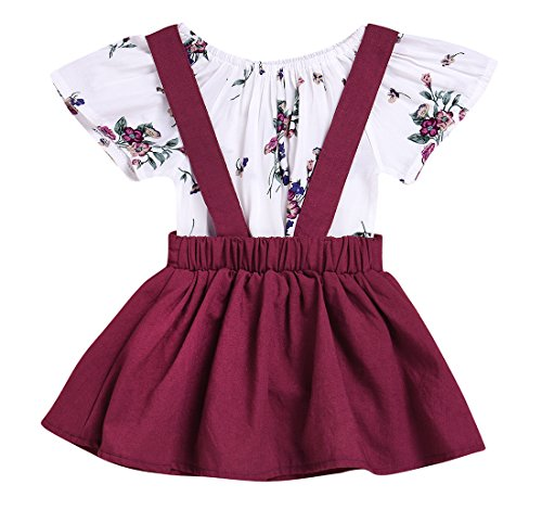 Baby Girl Overalls (Baby Girl 2pcs Outfits Floral Short Sleeve Ruffled T-Shirt Top+Suspender Braces Skirt Overalls (Floral+Red, 80(0-3M)))