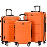 Resena Luggage 3 Piece Set Suitcase Spinner Hardshell Lightweight (Orange)