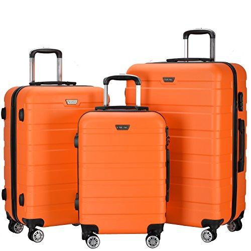 Resena Luggage 3 Piece Set Suitcase Spinner Hardshell Lightweight (Orange) by Resena