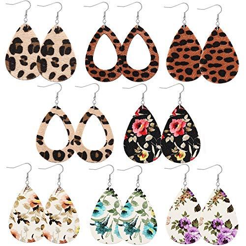 FIBO STEEL 8 Pairs Lightweight Leather Drop Earrings for Women Girls Boho Teardrop Dangle Earring Set