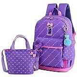 Adanina Heart Printing Backpack Sets Bowknot Primary Schoolbag Travel Daypack Shoulder Bag Pencil Case 3pcs
